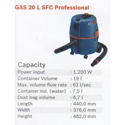 WET & DRY VACUUM CLEANER GAS 20 SFC PROFESSIONAL BOSCH