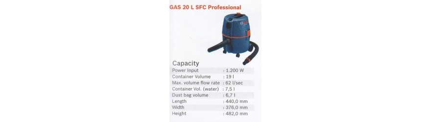 WET & DRY VACUUM CLEANER GAS 20 L SFC PROFESSIONAL BOSCH